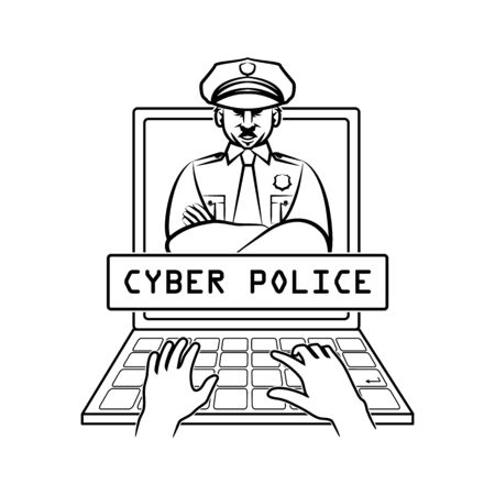 Cyber police officer appears on screen laptop. Stopped arms of hacker. Sketch.