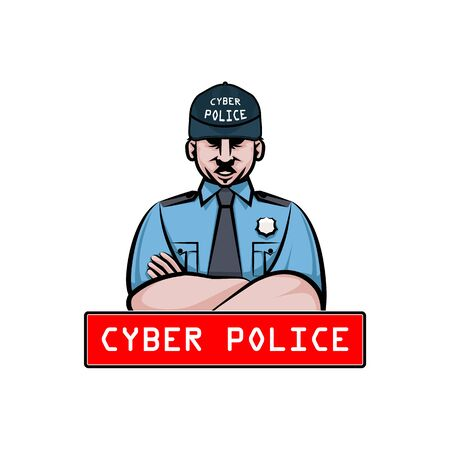 Male caucasian cyber police officer in uniform. Alarm screen icon.