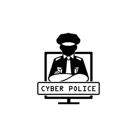 Black and white icon of cyber police officer on monitor of computer.
