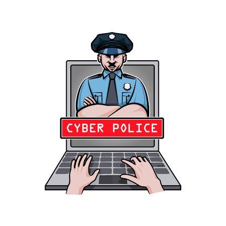 Cyber police officer appears on screen laptop. Stopped arms of hacker.