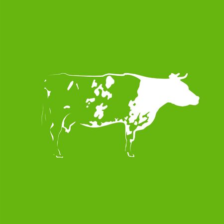 Icon of spotted white cow on green background. Banco de Imagens