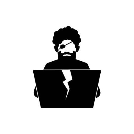 Black and white icon of digital pirate with laptop.