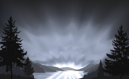 Wild terrain background. Lake (river) and pine forest. Sunset.  Spring. Grayscale tones.
