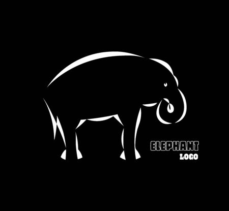 Schematic logo icon of  elephant. 向量圖像
