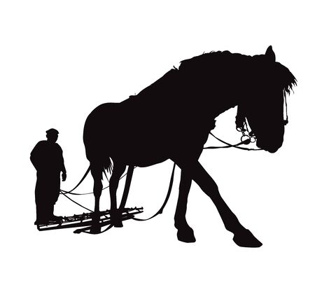 Silhouette of country man plowing by horse. 向量圖像