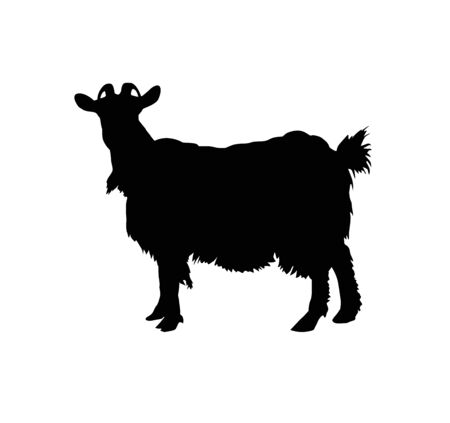Silhouette of horned goat. Badge. 向量圖像