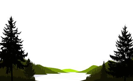 Wild terrain background. Lake (river) and pine forest. Sunset.  Spring. Black, green and white tones.