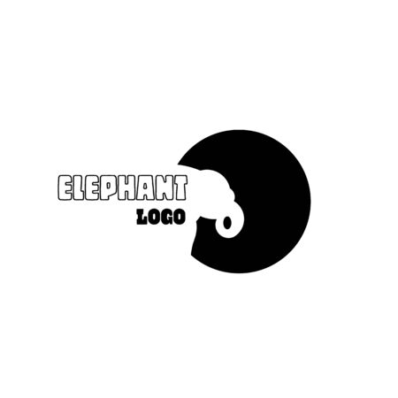 Elephant icon. Black and white tones.