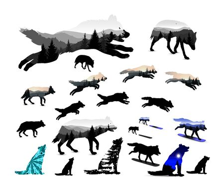 Set of wolves. Silhouettes. Double exposure with mountain landscape. Playing with snowboard. Howling.