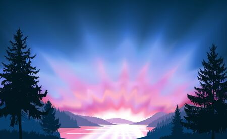 Wild terrain background. Lake (river) and pine forest. Sunset.  Spring. Blue and pink tones.