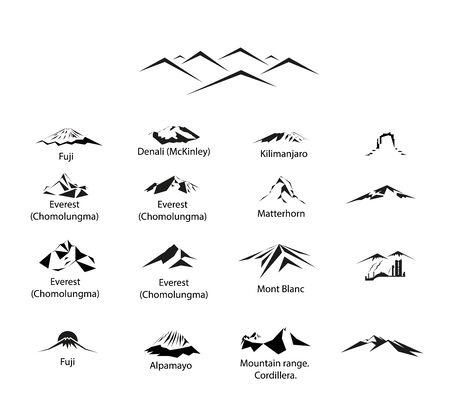 Set of 17 mountains 向量圖像