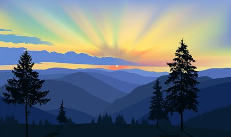 Nature background of mountains panorama. Colorful sunset in wild valley. Blue and yellow tones. 向量圖像