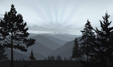 Fond de nature du panorama des montagnes. Soirée en vallée sauvage.