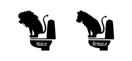 Funny toilet signs. Lion male and female are defecating.
