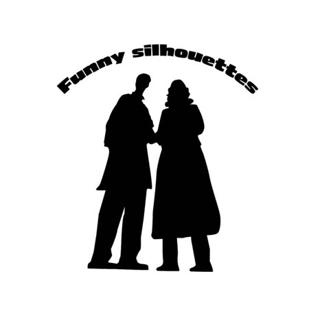 Funny silhouette of human couple.
