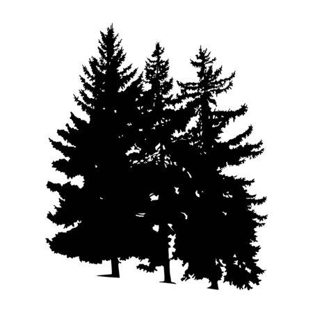 Silhouette von Kiefern. Handgemacht. Vektorgrafik
