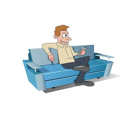 A man sitting on soft sofa with gadget.  向量圖像