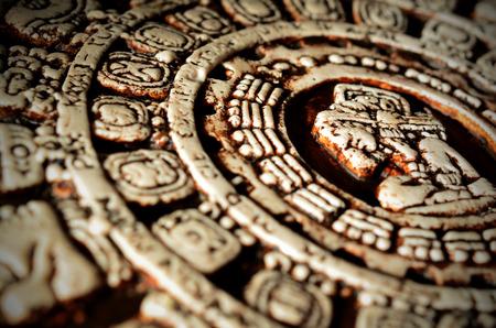 Macro photo of Maya calendar