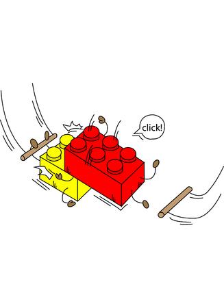 Tvůrce cirkusových cihel se zprávou o kliknutí na žluté a červené barvě
