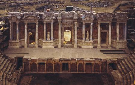 turistic: Ancient ruins of Hierapolis amphitheater Pamukkale, Turkey Stock Photo