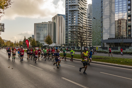 istanbul, turkey-october 11,2018. 40th istanbul marathon and running athletes