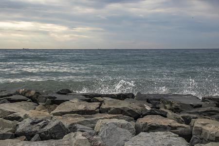 cliffs near sea and beach Stock Photo