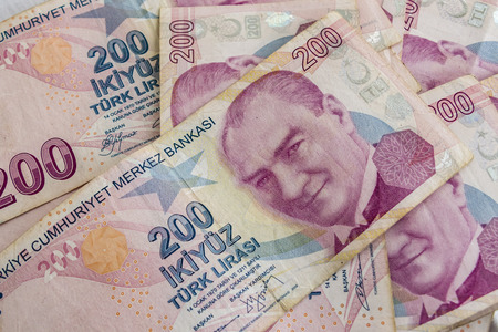 two hundred turkish lira banknotes