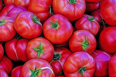 close up red tomatoes Stock Photo