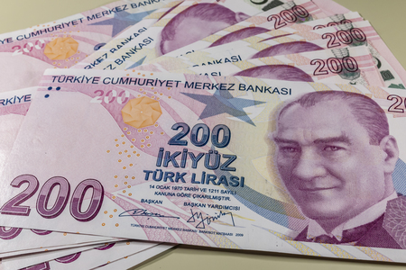 two hundred turkish liras Stok Fotoğraf - 123662741