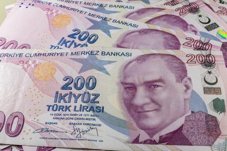 two hundred turkish liras Stok Fotoğraf - 123662743