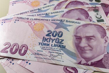 two hundred turkish liras Stok Fotoğraf - 123662744