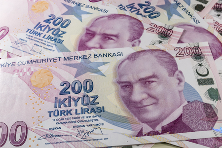 two hundred turkish liras Stok Fotoğraf - 123662936