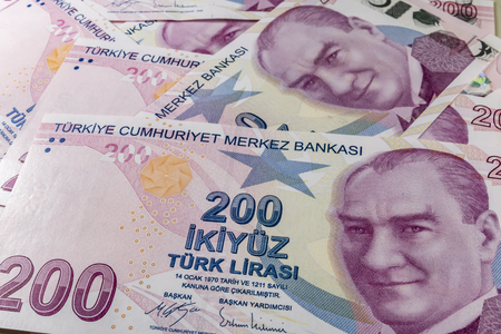 two hundred turkish liras Stok Fotoğraf - 123662937