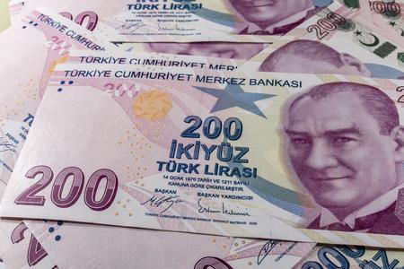 two hundred turkish liras Stok Fotoğraf - 123662938