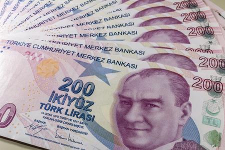 two hundred turkish liras Stok Fotoğraf - 123662939