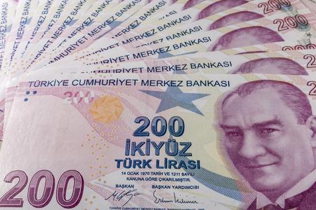 two hundred turkish liras Stok Fotoğraf - 123662940