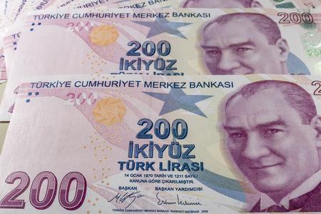 two hundred turkish liras Stok Fotoğraf - 123662943