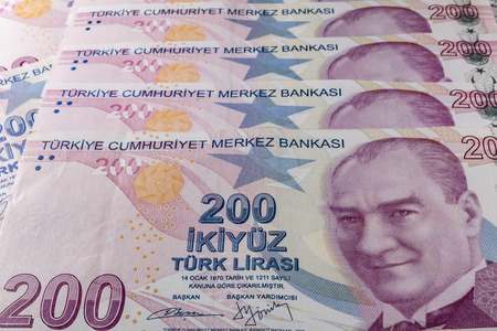 two hundred turkish liras Stok Fotoğraf - 123662945