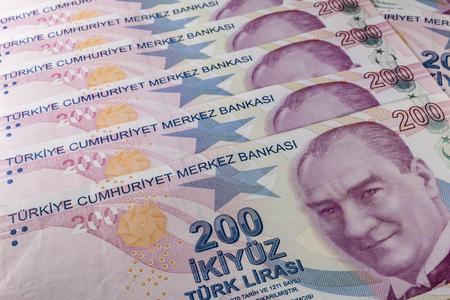 two hundred turkish liras Stok Fotoğraf - 123662946