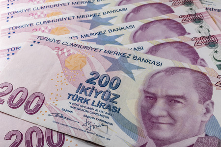 two hundred turkish liras Stok Fotoğraf - 123662948