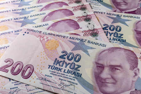 two hundred turkish liras Stok Fotoğraf - 123662951