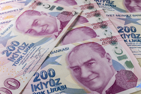 two hundred turkish liras Stok Fotoğraf - 123663040