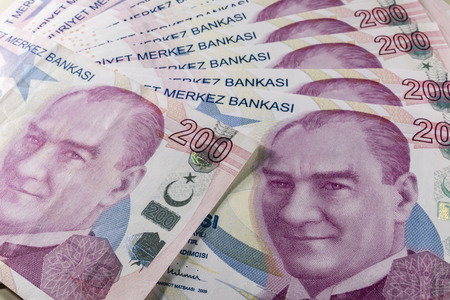 two hundred turkish liras Stok Fotoğraf - 123663048