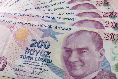two hundred turkish liras Stok Fotoğraf - 123663051
