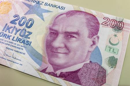 two hundred turkish liras Stok Fotoğraf - 123663058