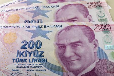 two hundred turkish liras Stok Fotoğraf - 123663061