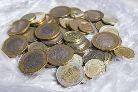 close up turkish metal coins