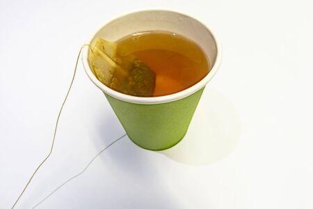 tea bag in paper cup Stok Fotoğraf