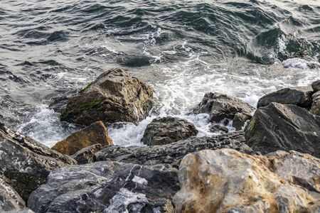 rocks and wave at the sea side