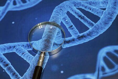 Lupa y la investigación de enfermedades genéticas.